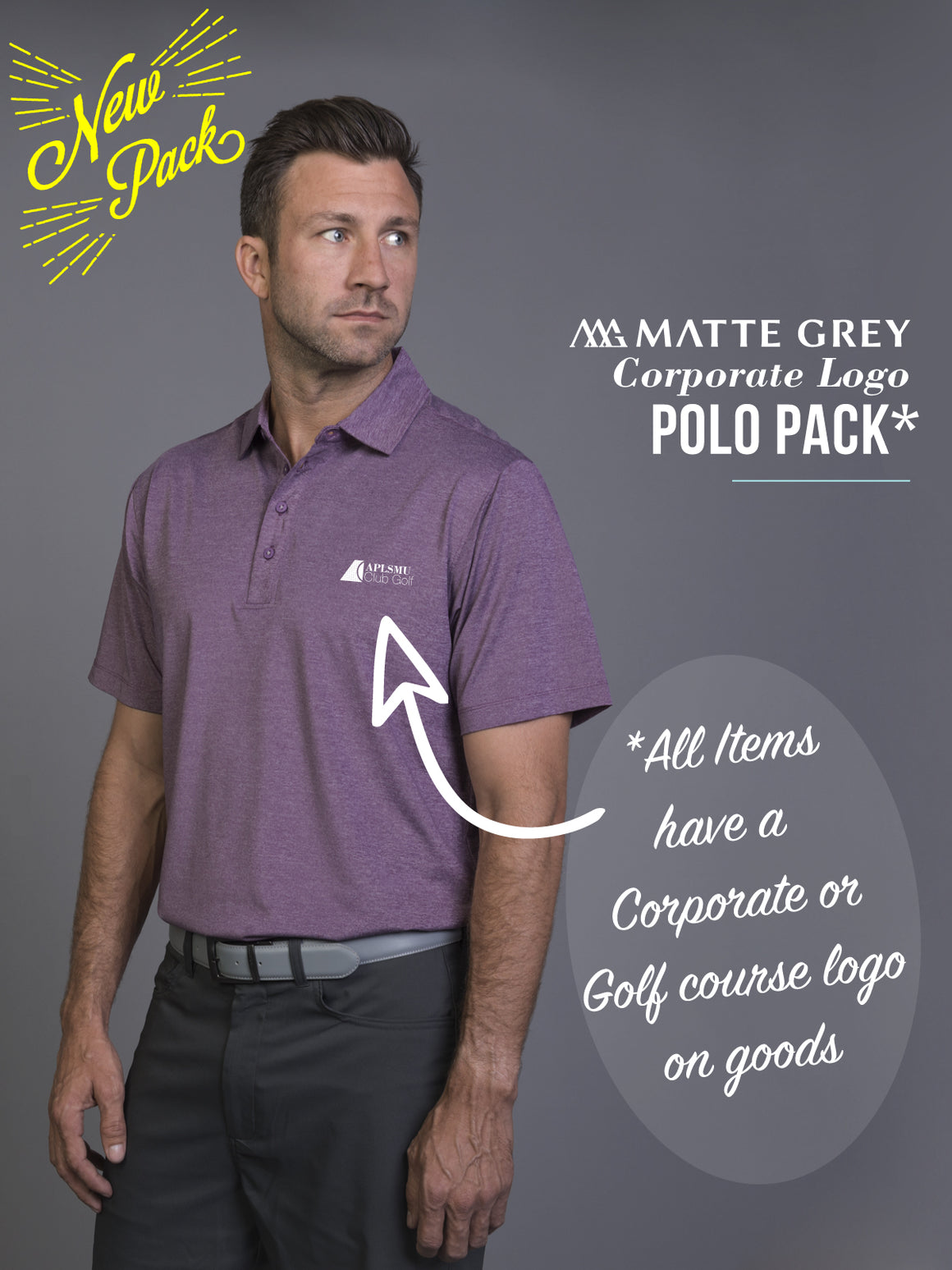 Matte Grey Polo Corporate Logo Pack
