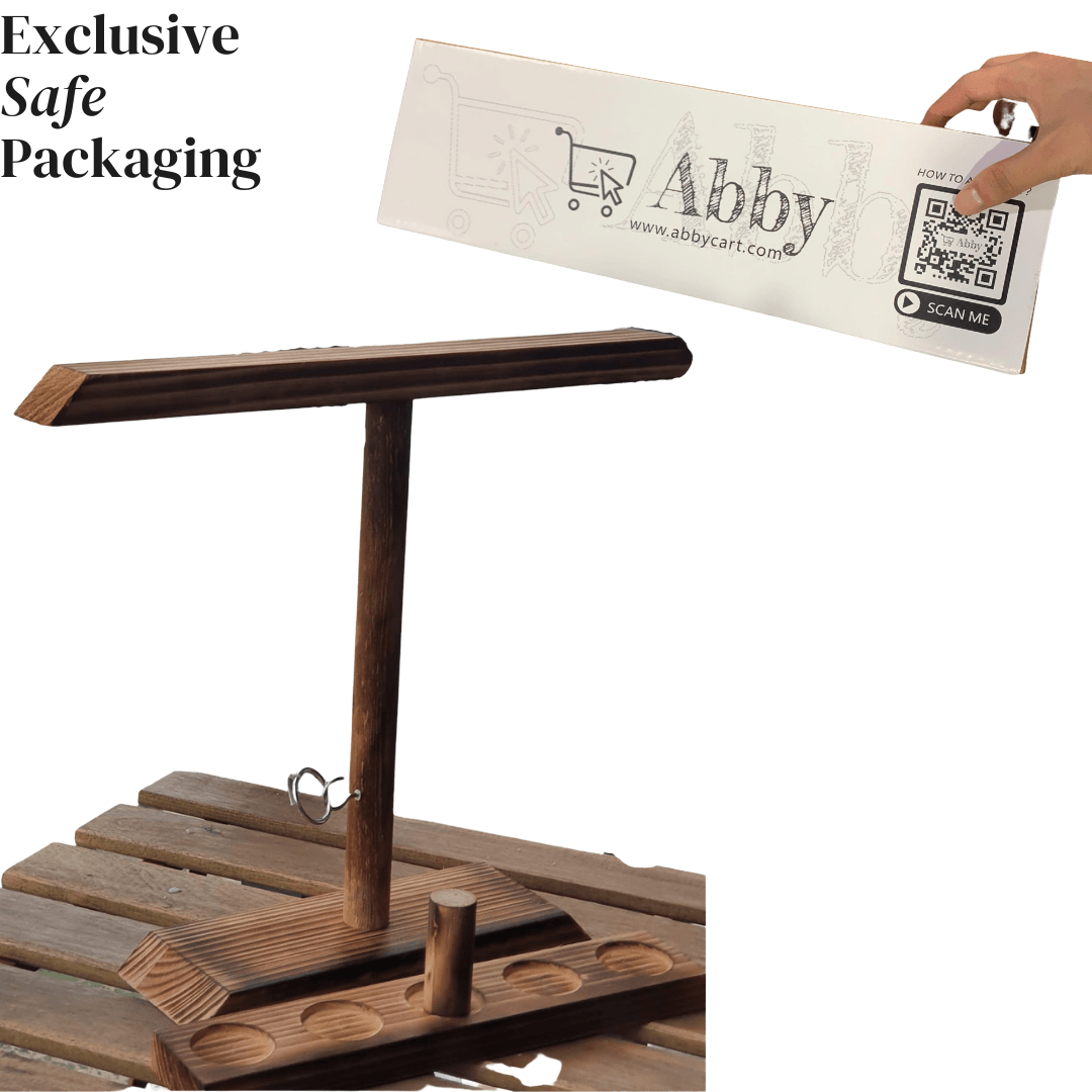 Abby™ Handmade Wooden Ring Toss Hooks with Shot Ladder - Party Bar Game