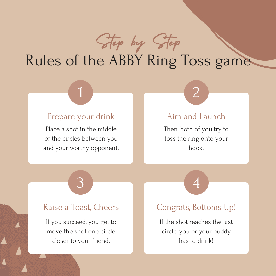 Abby™ Handmade Wooden Ring Toss with Shot Ladder - Party Bar Game