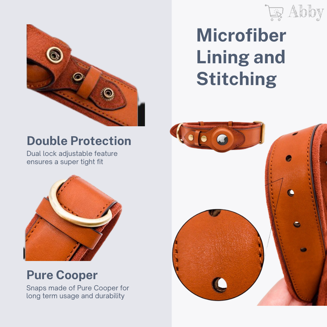 Abby's Apple AirTag Leather Dog Collar for your Pet - GPS Tracking