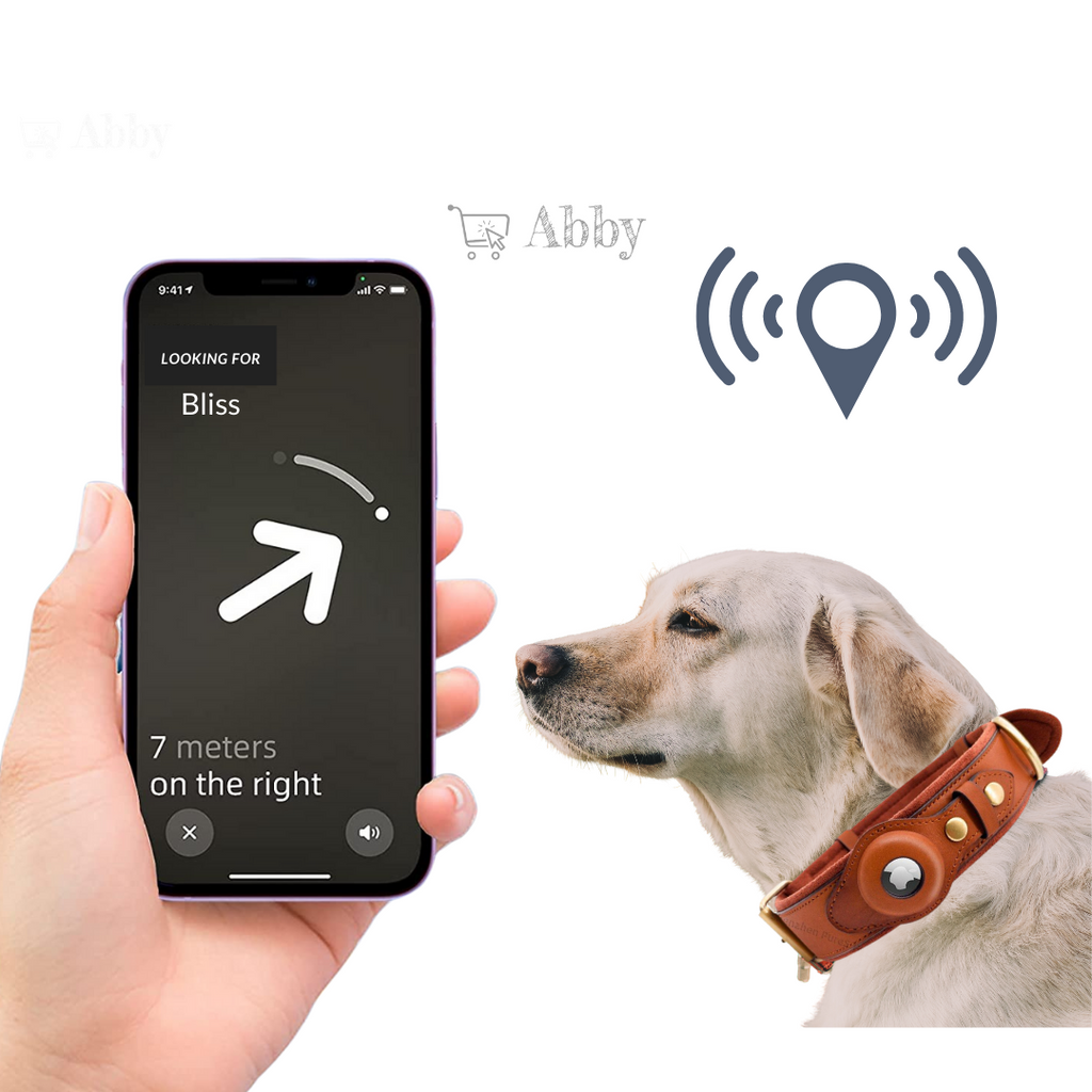 Abby's Apple AirTag Dog Collar for your Pet, Leather - GPS Tracking