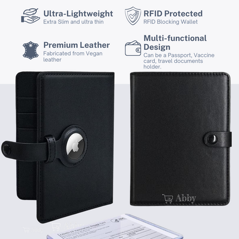 Abby's™ AirTag Trackable Wallet Passport Travel Luggage Bag with Apple AirTag Holder Case - Vaccine Card Protector