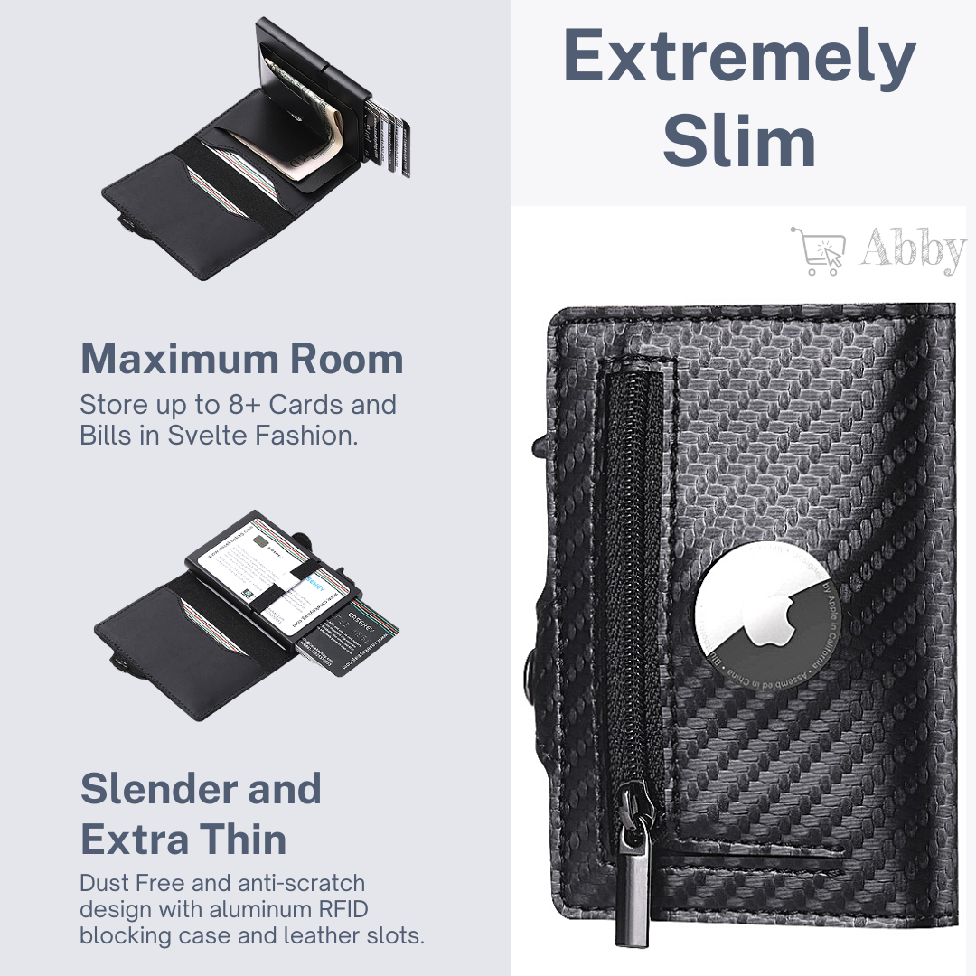 Abby's™ AirTag Trackable Leather Wallet with Apple AirTag Holder Case - RFID Blocking and Protection