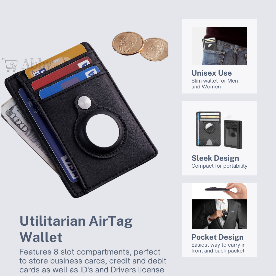 Abby's™ Anti-Lost Wallet, Cards holder with AirTag Case - Front Pocket
