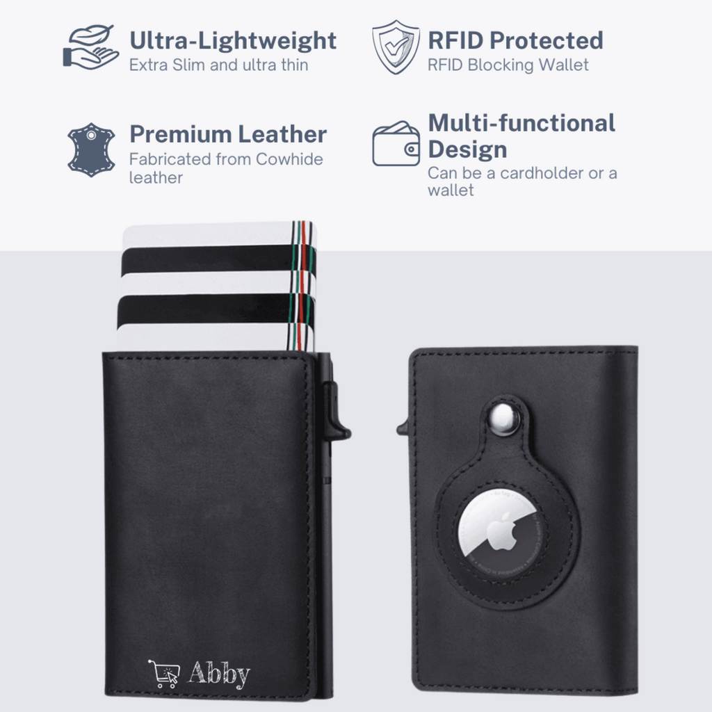 Abby's™ Anti-Lost Slim Leather AirTag Wallet with Apple AirTag Holder Case - RFID Protection