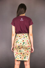 "Load image into Gallery viewer, Pencil Jersey Skirt with Vents ""FLOWERS"""