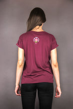 "Load image into Gallery viewer, Oversized Tee ""FLOWERS PRINT"" - bordeaux"