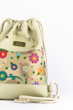"Load image into Gallery viewer, Mini Gym Bag ""FLOWERS"" - beige"