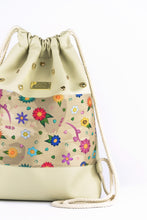 "Load image into Gallery viewer, Gym Bag ""FLOWERS"" - beige"