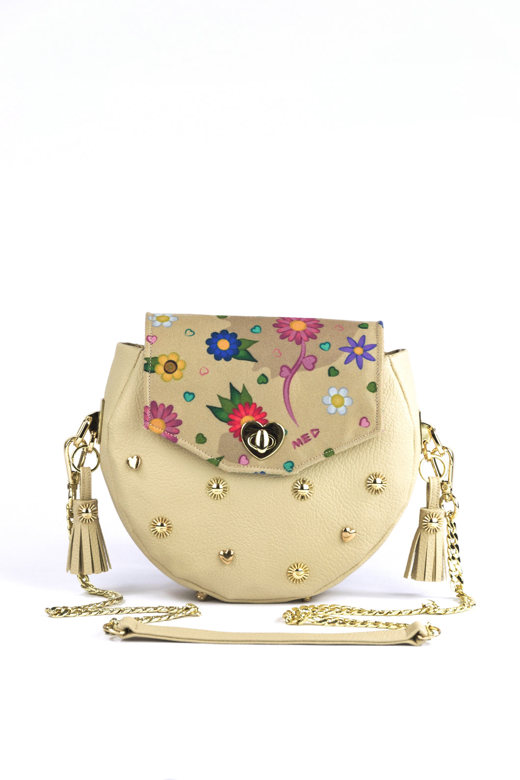 "Circle Bag ""FLOWERS"" – beige"