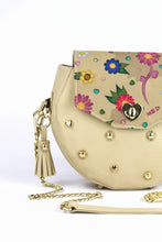 "Load image into Gallery viewer, Circle Bag ""FLOWERS"" – beige"