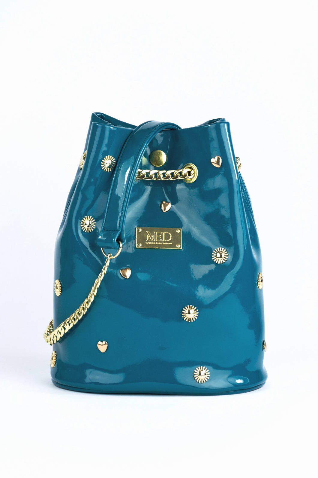 Bucket Bag in vegan Patent Leather - petrol