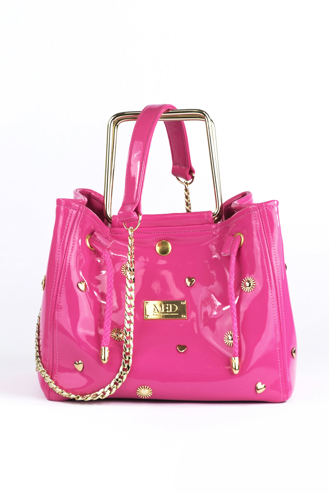 Box Bag in vegan Patent Leather - pink