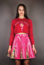 "Load image into Gallery viewer, Flared Skirt with Zippers & Godets ""FLOWERS"" - pink"