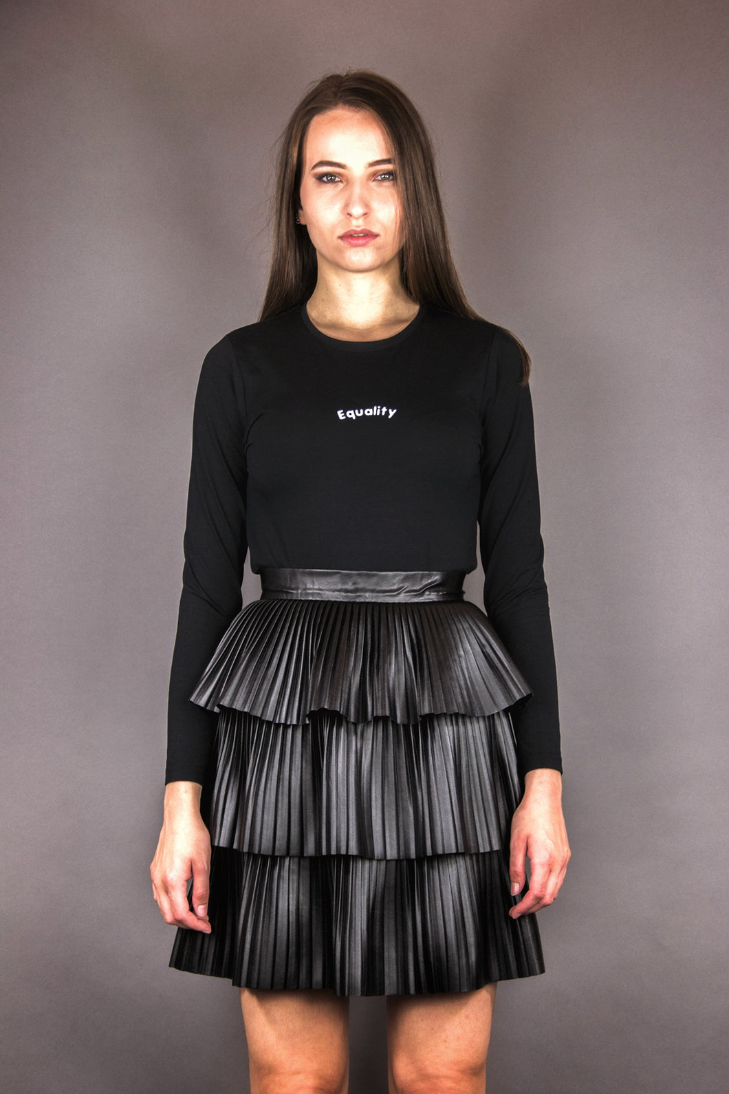 Pleated Skirt with Flounces in Imitation Leather 2.0 - black