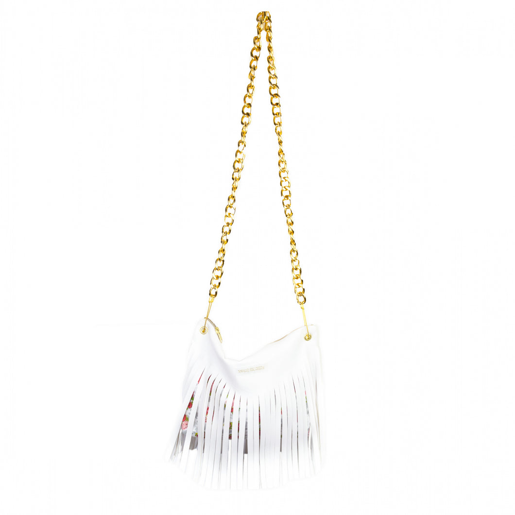 Bag in Imitation Leather with Fringing & Shoulder Chain - White