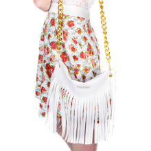 Load image into Gallery viewer, Bag in Imitation Leather with Fringing & Shoulder Chain - White