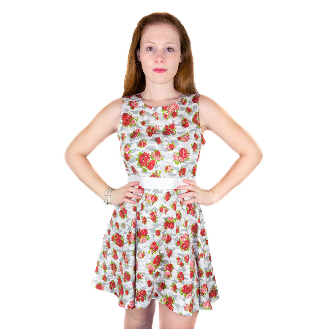 Mini Skater Dress in Interlock Jersey - White