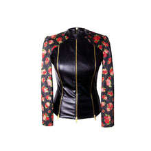 Load image into Gallery viewer, Biker Jacket in Imitation Leather with Zippers & Godets - Black