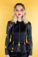 "Load image into Gallery viewer, Biker Jacket with Godets ""SPACE"" - Black"