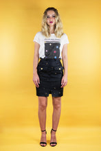 "Load image into Gallery viewer, Military Skirt in Imitation Leather ""SPACE"" - Black"