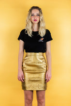 "Load image into Gallery viewer, Panel Skirt in Imitation Leather ""SPACE"" - Gold"
