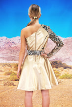 "Load image into Gallery viewer, Flared Asymmetric Dress ""LEO"" - gold"