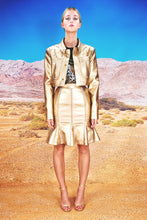 "Load image into Gallery viewer, Pencil Skirt with Zippers & Godets ""LEO"" - gold"