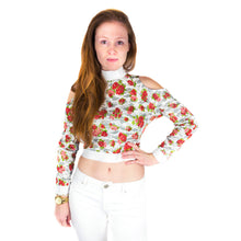 Load image into Gallery viewer, Off Shoulder Raglan Sleeve Crop Top with Turtle Neck - White