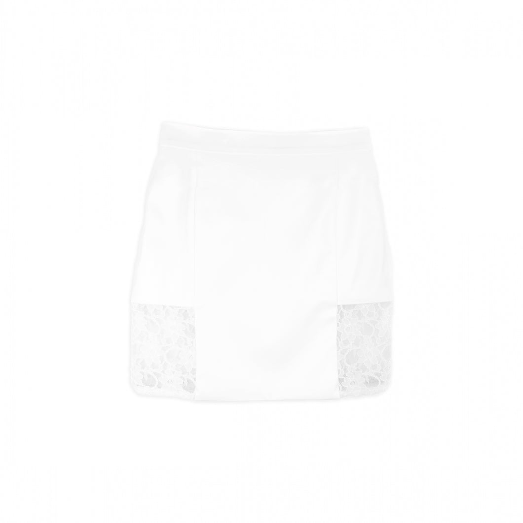 Bodycon Mini Skirt in Imitation Leather with Lace Side - White