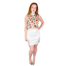 Load image into Gallery viewer, Bodycon Mini Skirt in Imitation Leather with Lace Side - White