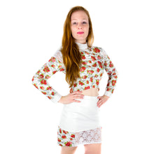 Load image into Gallery viewer, RNF Bodycon Mini Skirt in Imitation Leather with Lace Detail - White