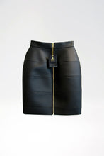 Load image into Gallery viewer, Tight Panel Skirt in Imitation Leather with Lacing - Black