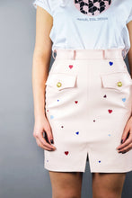 "Load image into Gallery viewer, Military Skirt in Imitation Leather ""LOVE"" - Pearl Pink"
