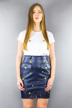 "Load image into Gallery viewer, Military Skirt in Imitation Leather ""STARS"" - Night Blue"