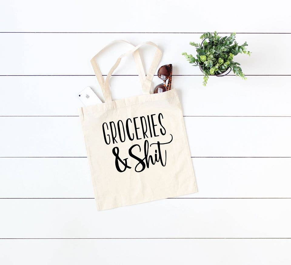 Groceries & Shit Canvas Tote