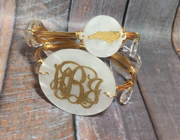 Engraved Monogram Wire Bangle