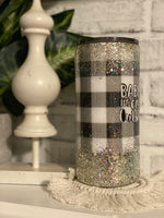 22 Oz Straight Tumbler || Baby Its Cold Outside ~ Buffalo Plaid