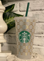 Designer Inspired ||Gucci|| Starbucks || Reuse-able Cold Cup