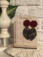 Garnet Beaded Cork Plaid Post Earring