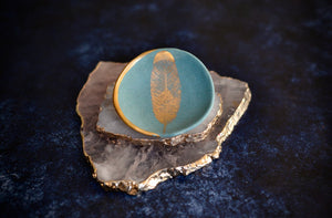Mint Ring Dish with Gold Feather