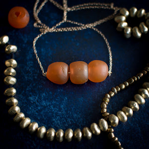 Krobo Bead Necklace in Chunky Tangerine