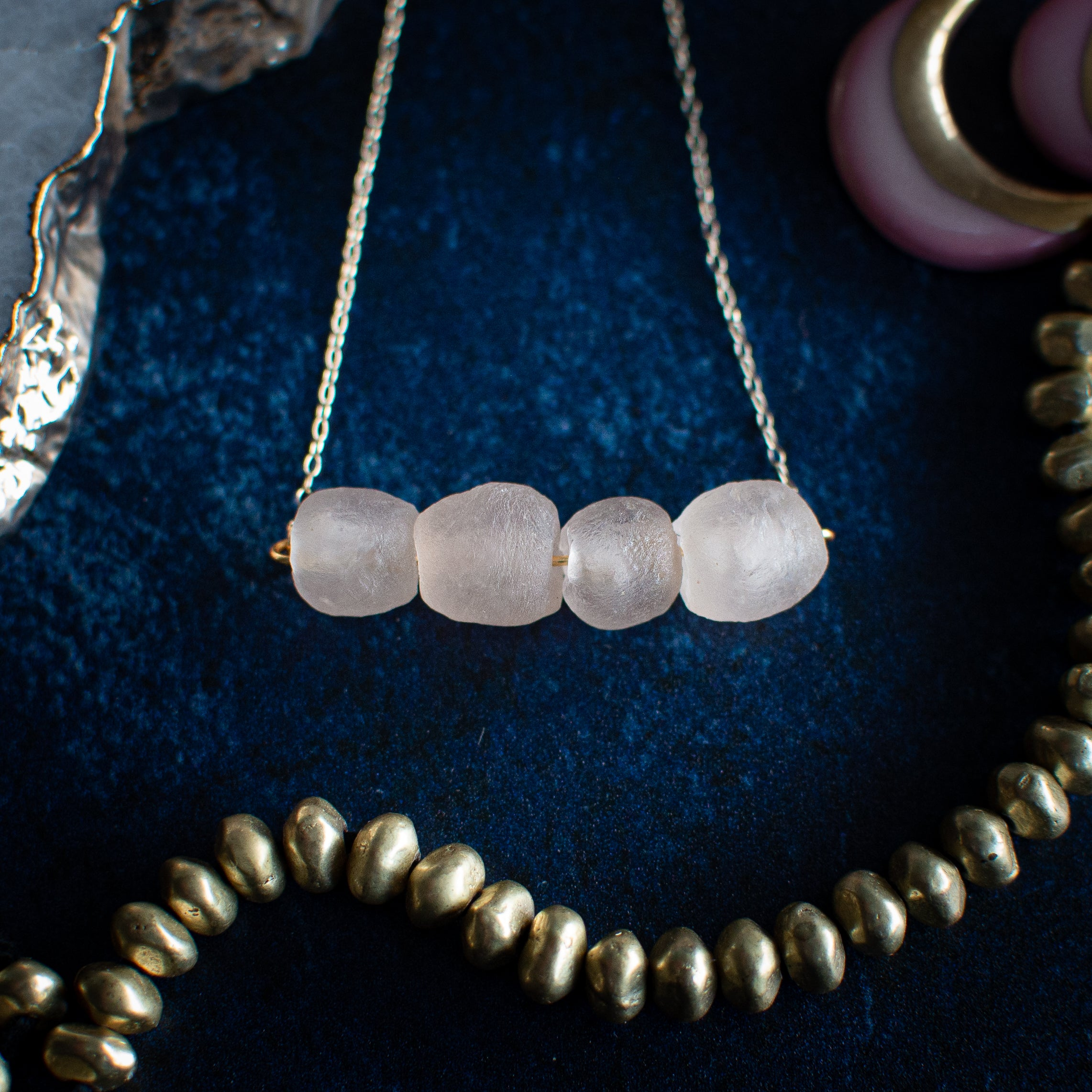 Krobo Bead Necklace in Light Rose