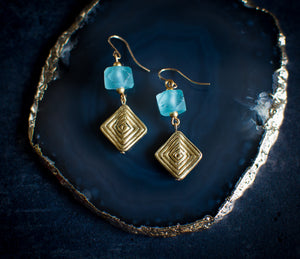 Krobo Bead Glass and Brass Earrings (more colours)