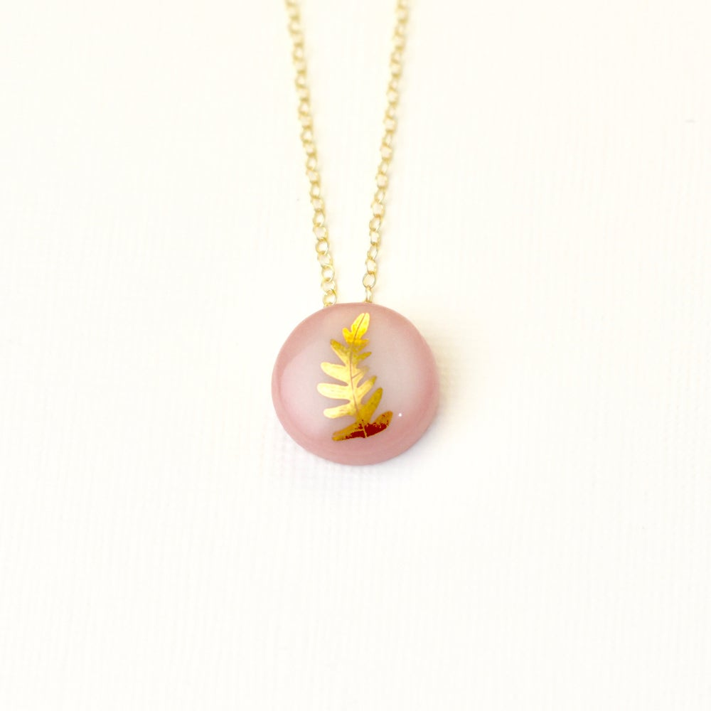 Pink Gold Fern Necklace