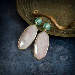 Rose Quartz and Krobo Bead Statement Earrings