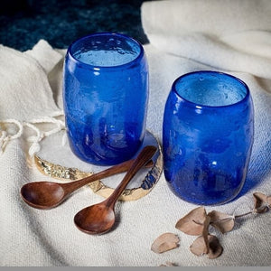 Handblown Glassware from Herat in Dark Blue (Pair) ON BACKORDER