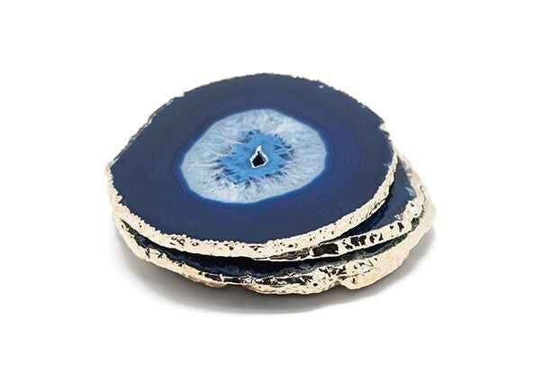 Agate and Gold Coasters - Blue Colour