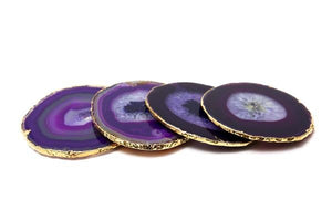 Agate and Gold Coasters - Purple Colour