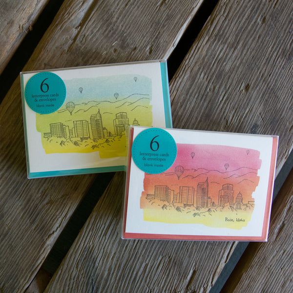 Boise Watercolor Skyline card, hand water colored, letterpress printed eco friendly